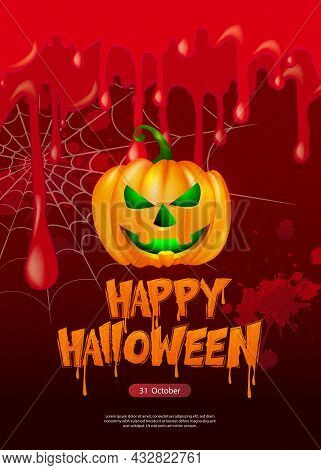 Happy Halloween Scary Jack Lantern And Bloody Blood Spider Web