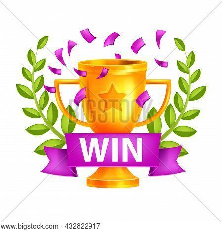 Level Up Mobile Game Vector Icon, Casino Bonus Victory Reward, Golden Cup, Winner Wreath, Ribbon. In