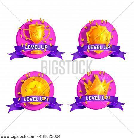 Level Up Game Bonus Badge Set, Vector Cartoon Casino Reward Kit, Golden Cup, Shield, Crown, Purple R