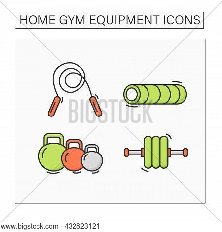 Home Gym Equipment Color Icons Set. Sport And Fitness Tools. Foam Roller, Jumping Rope, Exercise Rol