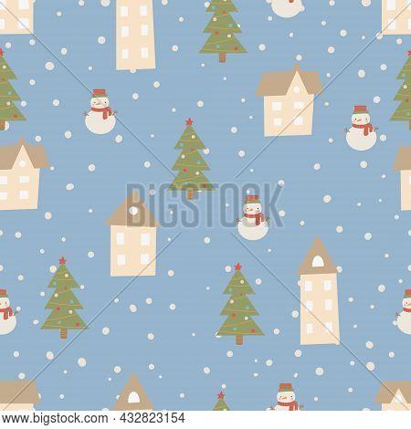 Christmas Pattern Winter Forest Scandinavian Hand Drawn Seamless Pattern. New Year, Christmas, Holid