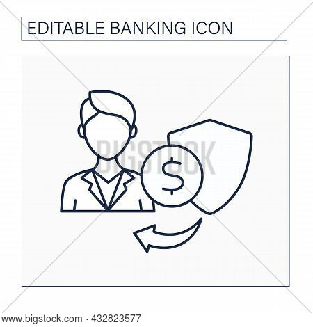 Beneficiary Line Icon. Person Gains Advantages From Bank. Receive Distributions From Trust, Will, Or