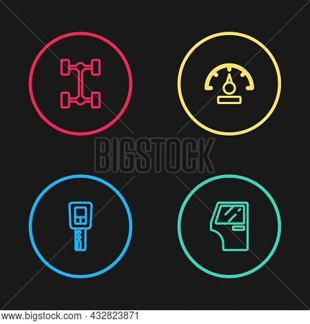 Set Line Car Key With Remote, Door, Speedometer And Chassis Car Icon. Vector