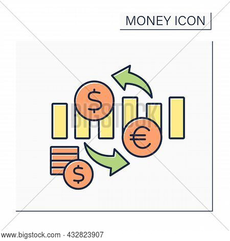 Exchange Rate Color Icon. Nation Currency Value In Terms Of Currency Of Another Nation. Currency Of