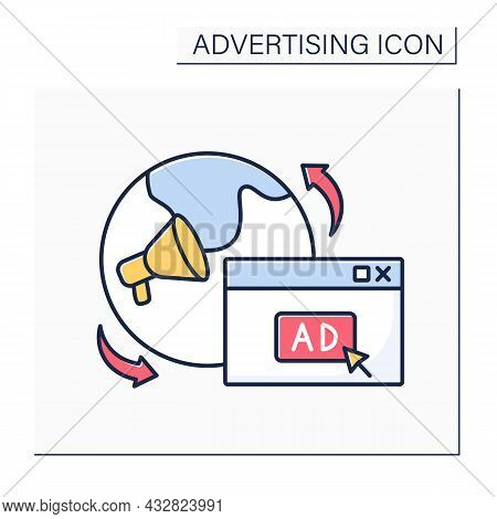 International Ads Color Icon.dissemination Of Commercial Message To Target Audiences In Countries. B