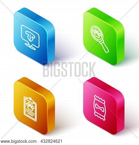 Set Isometric Line Cat Nose, Veterinary Clinic, Clinical Record Pet And Bag Of Food For Icon. Vector