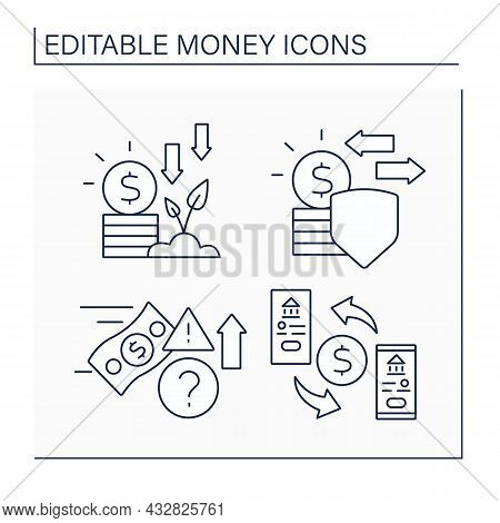 Money Line Icons Set. Invest, Legal Tender, Speculate, Transaction. Business Concept. Isolated Vecto
