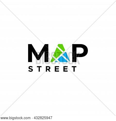 A Simple And Attractive Wordmark Logo About Maps And Roads. Eps 10, Vector.