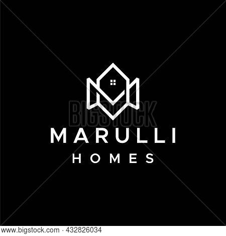 Simple And Clean Logo About Homes Real Estate And Letter M. Eps 10, Vector.