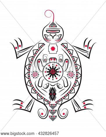 Latino American Poncho Ornament Vector For Greeting Card. Turtle Illustration Embroidery.