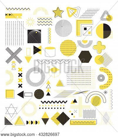 Set Of Geometric Abstract Shapes Vector For Web, App, Social Net, Advertisement. Memphis, 80s, 90s R
