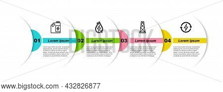 Set Line Eco Fuel Canister, Water Energy, Antenna And Recharging. Business Infographic Template. Vec