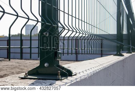 Steel Lattice Green Fence With Wire. Fencing. Grid Industrial Wire Fence Panels, Pvc Metal. Installa