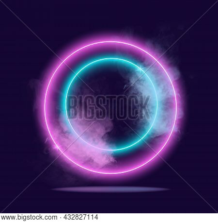Glowing Neon Lighting. Several Rings Covered With Translucent Cloud Of Smoke. Modern Light, Nightclu