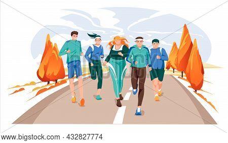 Marathon Racing Group - Flat Cartoon Modern Vector Illustration Of Running Men And Women In Autumn R