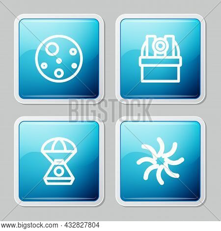 Set Line Planet Mars, Astronomical Observatory, Space Capsule And Black Hole Icon. Vector