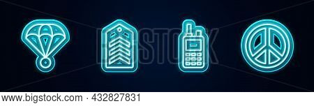 Set Line Parachute, Chevron, Walkie Talkie And Peace. Glowing Neon Icon. Vector