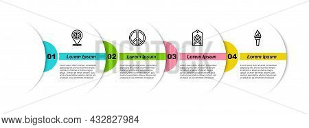 Set Line Location Peace, Peace, Chevron And Torch Flame. Business Infographic Template. Vector
