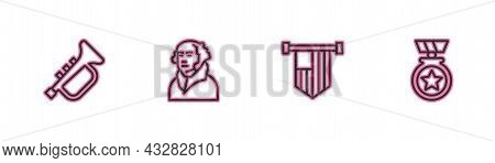 Set Line Trumpet, American Flag, George Washington And Medal With Star Icon. Vector