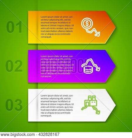 Set Line Dollar Rate Decrease, And Shutdown Of Factory. Business Infographic Template. Vector