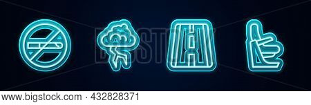 Set Line No Smoking, Storm, Airport Runway And Airplane Seat. Glowing Neon Icon. Vector