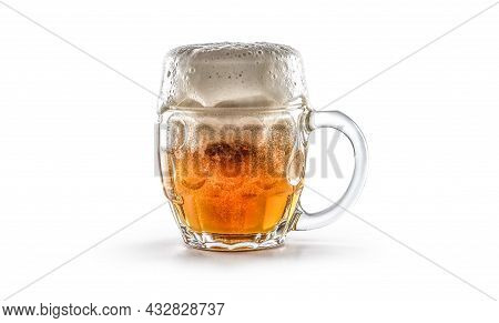 Glass Of Freshly Drafted Beer On A White Background.