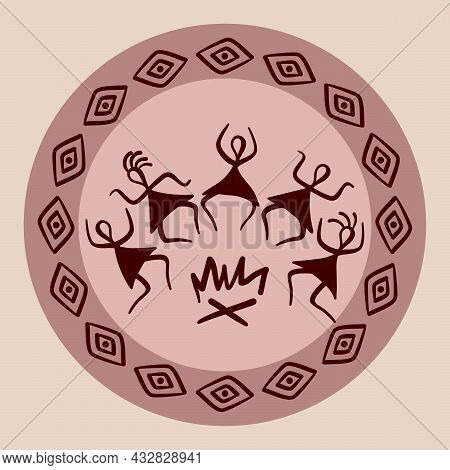 Traditional Native American Symbols. Primitive Figures Of Ancient Tribes. Traditional Rituals Around