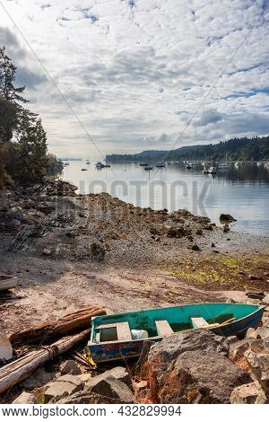 Ganges, Salt Spring Island, British Columbia, Canada. Scenic View Of Sailboats And Boats In A Marina