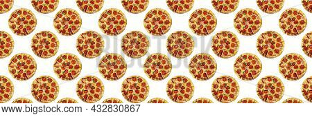 Pepperoni Pizza Isolated On White Background, For The Design Of Fast Food Or Pizzerias, Seamless Pat