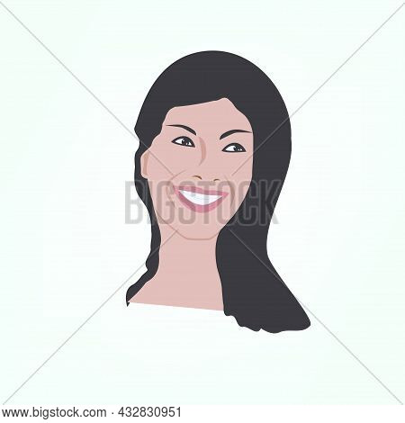 Portrait Of A Lady With A Charming Smile - Vector. Beauty Fashion.
