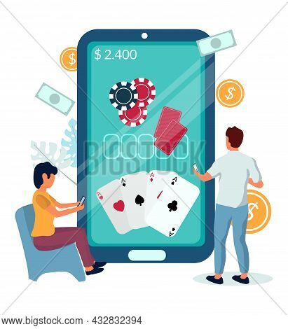 People Playing Poker Casino Mobile Game Online, Vector Illustration. Casino Mobile Apps. Gambling In