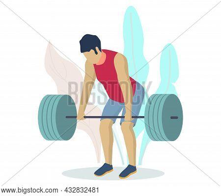 Athlete, Sportsman, Bodybuilder Lifting Barbell. Fitness Gym Bodybuilding Workout. Weightlifting Spo