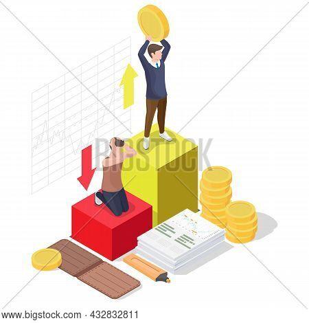 Happy Businessman, Successful Investor Celebrating Financial Success, Flat Vector Isometric Illustra