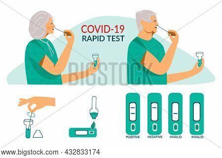 Rapid Covid-19 Antigen Test For Senior Elderly People. Corona Virus Nasal Pcr Swab Rapid Test. Senio