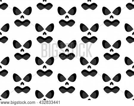 Scary Face Seamless Pattern. Spooky Halloween Face With Evil Scary Eyes. Ghost Mask. Festive Backgro