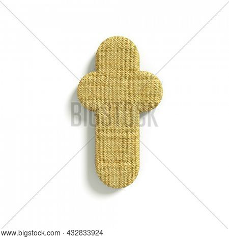 hessian letter T - Lower-case 3d jute font isolated on white background. This alphabet is perfect for creative illustrations related but not limited to fabric, design, decoration...