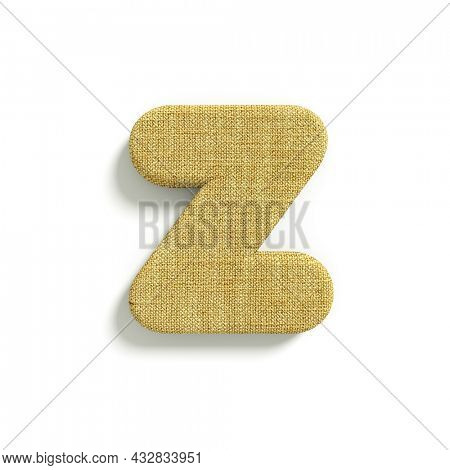 hessian letter Z - Lower-case 3d jute font isolated on white background. This alphabet is perfect for creative illustrations related but not limited to fabric, design, decoration...