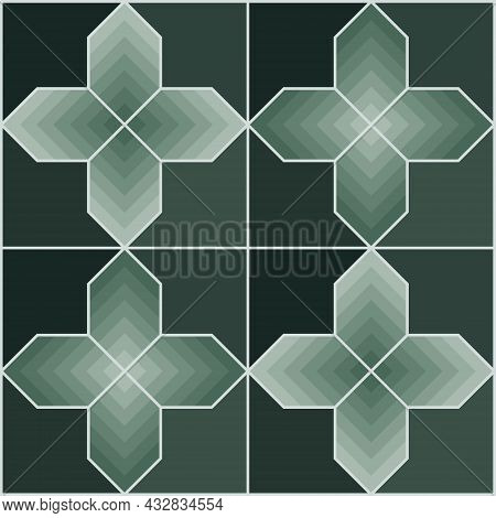 Seamless Abstract Geometric Pattern. Cross Shape Background Gradient Green Tones. Texture Design For