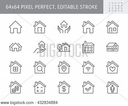 Home Line Icons. Vector Illustration Include Icon - Country House, Property, Cottage, Chimney, Homep