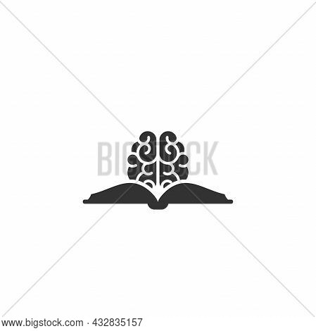 Black Opened Book Nd Brain Silhouette. . Flat Reading, Learning Icon Isolated On White. Vector Illus