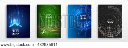 Digital Technology And Modern Science Concept. Vector Template For Brochure Or Cover With High Tech
