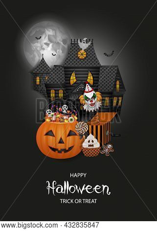 Halloween Background With Haunted House, Pumpkin Bucket And Sweets
