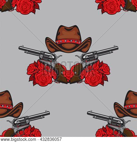 Vector Seamless Pattern With Old Revolvers, Brown Cowboy Hats And Red Roses On A Grey Backdrop. Grap