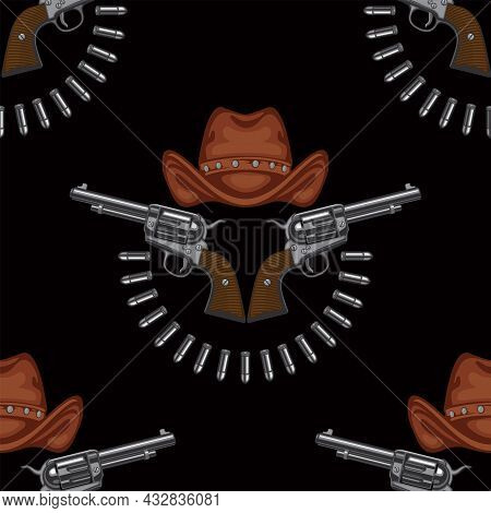 Seamless Pattern With Revolvers, Cowboy Hats And Cartridges Laid Out In A Semicircle On A Black Back