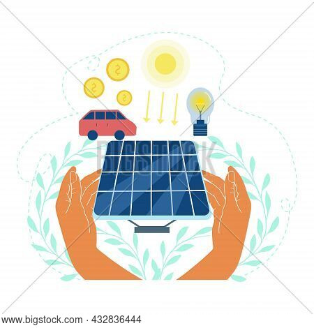 Human Hands Holding Solar Panel With Dollar Coin And Light Bulb Connected To Solar Panel. Solar Ener