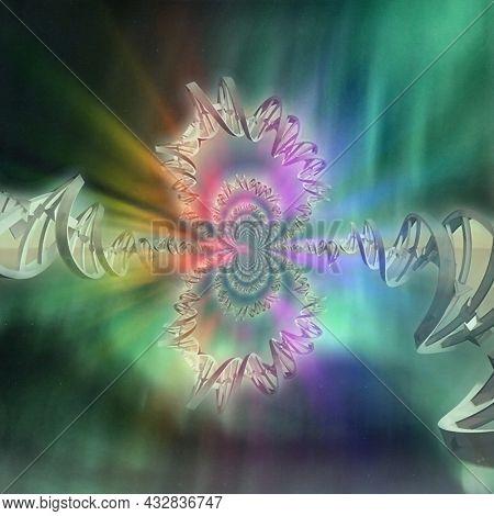 DNA strand fractal painting. 3D rendering.