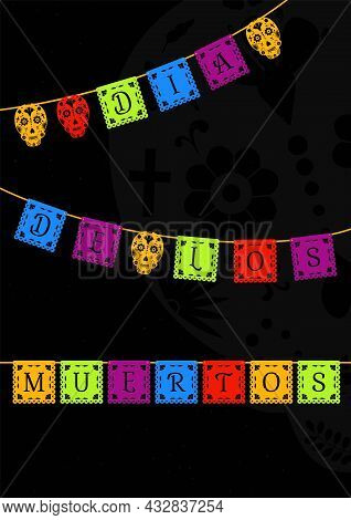 Dia De Los Muertos Card, Banner. Traditional Mexican Day Of The Dead Decoration With Paper Cut Out G