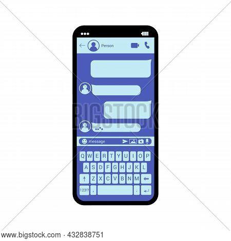 Interface Smartphone Chat Vector Template Illustration Messenger Window Sms Messenger Mobile App Scr