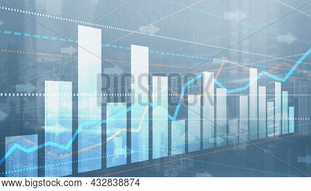Finance Chart Graph. Trading Forex Exchange Investment Fintech Concept On Modern City Background