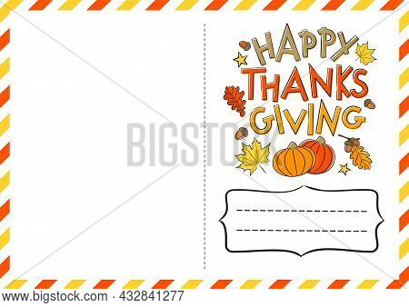Happy Thanksgiving Day. Postcard With A Logo For Sending Congratulations. Hand-drawn Autumn Leaves A